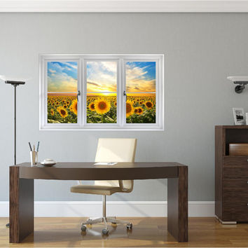 Window Scape Sunflower Field Sunset #1 Wall Decal Graphic Sticker Yellow Flower Mural Home Kids Game Room Office Art Decor