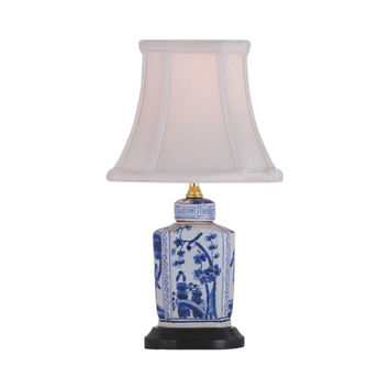 """Blue and White Floral Porcelain Tea Caddy Table Lamp 13.5"""""""