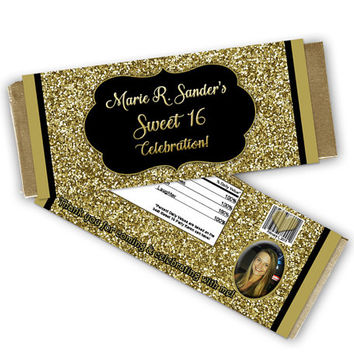 Gold Candy Wrapper - Gold Glitter Sweet 16 Candy Wrappers - Photo Sweet 16 Favors - Gold Sweet Sixteen - Adult Gold Birthday Party Favor