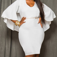 V-Neck Bodycon Cape Dress