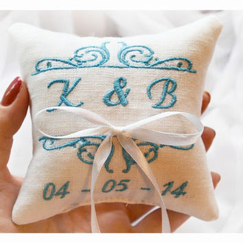 Personalized ring bearer pillow ,wedding ring pillow ,personalized ring pillow, ring bearer pillow, Something blue ,Custom embroidery (LR12)