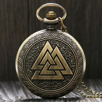 Bronze Valknut Pocket Watch