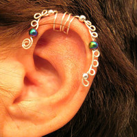 "No Piercing ""Sea Serpent"" Ear Cartilage Cuff for Helix 1 Cuff  Lots of Color Choices"
