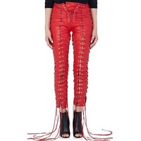 leather lace up skinny pants red - Google Search