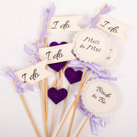 Purple Wedding Decoration, Bachelorette Decor, I Do Cupcake Toppers From Miss to Mrs and Food Picks, Wedding Cupcake Toppers, Mix Set of 12