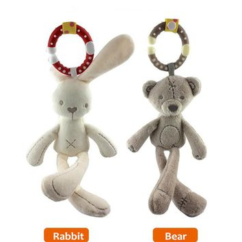 Cute Infant Rabbit Bear Baby Toys Plush Rattles Crib Bed Stroller Hanging Bell Doll Soft Musical Mobile Toy Carriages Kids Gift