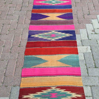 "Colorful VINTAGE Turkish hallway Runner Kilim Rug Carpet, Handwoven runner Kilim  Rug ,Decorative, runner rug (219 x 65)cm  or (86"" x 25.5"")"