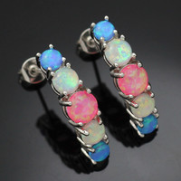 Greceful Blue Pink White Fire Opal Silver Plated Ear Stud Earrings