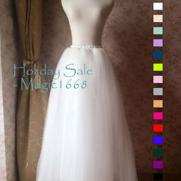 Adult Tulle Skirt in White/Ivory Maxi Tutus Long Floor Length Tulle Skirt white Wedding Skirt white Princess Tutu Ballerina Skirt(T2812)