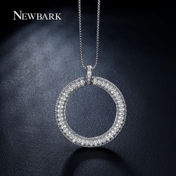 NEWBARK Big Circle Pendant Necklace Paved Tiny Zirconia Stones Silver Color Circle Of Life Necklaces Jewelry For Women