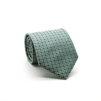 Ferrecci Mens Green Geometric Necktie with Handkerchief Set