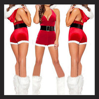 Women Sexy Christmas Santa Costume Dress & Hood Outfit Xmas Party Fancy Dres