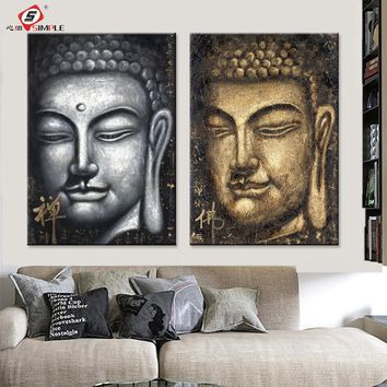 Canvas Painting Modern Decorative Pictures Buddha Wall Art Decoration Posters and Prints for Living Room Bedroom Home Decor 2pcs
