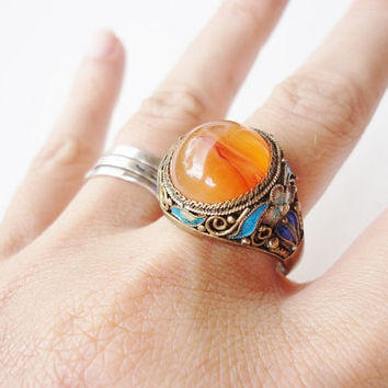 Antique Chinese Export SILVER Filigree and Enamel Ring with orange cabochon