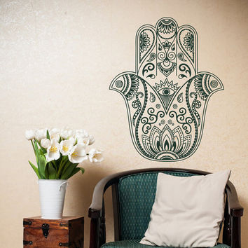 Hand of Hamsa Wall Decal- Hamsa Fatima Vinyl Decal Stickers- Tribal Wall Decal Indian Bohemian Bedroom Yoga Studio Decor Hamsa Wall Art #31
