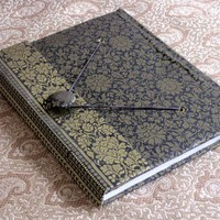 Black Gold Sari Fabric Handmade Journal | WithAnIndianTouch - Paper/Books on ArtFire