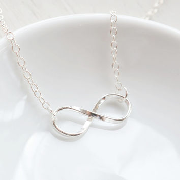 Infinity Necklace,Sterling Silver Infinity Charm Necklace,Bridesmaid Necklace,Friendship BFF,Couple Anniversary,Everlasting Symbol,Figure 8