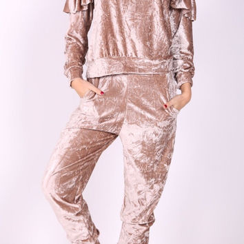 Crushed Velour Ruffle Frill Top And Bottom Loungewear