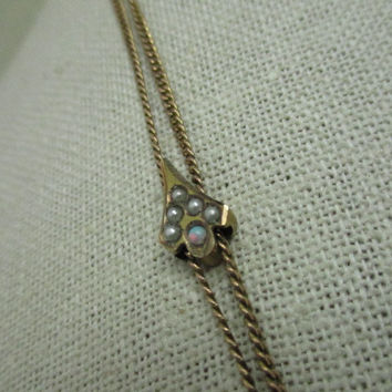 """Vintage Ladies Victorian Seed Pearl & Opal Watch Chain with Slide, 46"""", Gold Filled"""