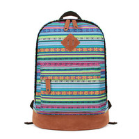 Fashion Floral Print Folk Style Canvas Backpack-for girl
