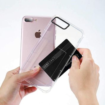 KISSCASE For iPhone 8 7 6 6S Plus Case Card Slot Transparent Phone Back Cover Cases For iPhone 8 7 6 6S Plus Card Holder Shells