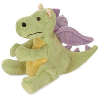 "DOG TOYS - PLUSH - GODOG BABY DRAGON DOG TOY  11"", LIME GREEN"