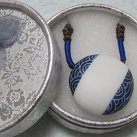 Ceramic Necklace.White And Blue Art.Handmade.