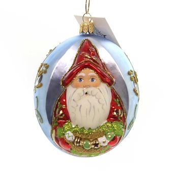 Vaillancourt PEARLIZED SANTA W/ORNAMENT SWAG Glass Poland Hand Painted Or17506