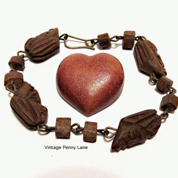 Handmade Leather / Wood Jewelry, Carved Bracelet, Heart Brooch