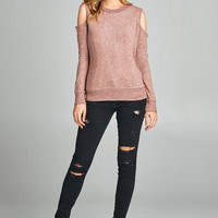 Women & Juniors Long Sleeve Round Neck Open Shuoulder Brushed Hacci Light Sweater Top