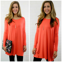 Time Well Wasted Coral Long Sleeve Dress