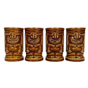 Vintage Tiki Mugs Tumblers Ceramic Orchids of Hawaii Japan R 91 Luau Cup Drink Glasses Brown Glazed Barware Cocktails