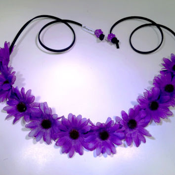 Purple Daisy Flower Headband, Flower Crown, Flower Halo, Festival Wear, EDC, Ultra Music Festival, Rave