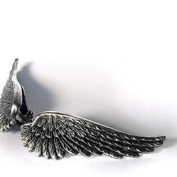 Angel Wing Earrings Clip On Soldered Earrings Gothic Jewelry