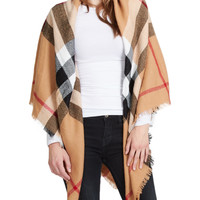 LE3NO Womens Oversized Plaid Wrap Blanket Scarf (CLEARANCE)