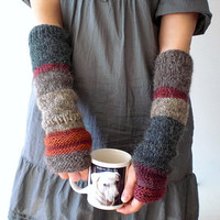 Hand knit arm warmers / urban rustic / cottage chic / earthy brown / autumn red / pink wood rose / country / gray / arm cozy / mix and match