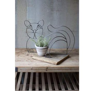 Wire & Clay Cat Planter
