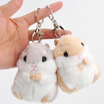 Baby Kids Kawaii Cute Soft Plush Cartoon Animal White/Khaki Small Hamster Toy Doll Key Chain Stuffed Mouse Toy