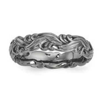 Sterling Silver Black-plated Carved Band Ring, Size 8