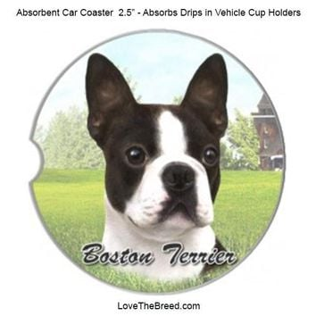 Boston Terrier Absorbent Car Coaster