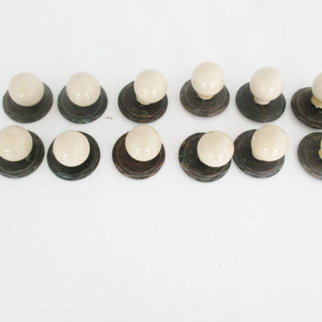 12 Round Porcelain Knobs with Brass Faceplate Salvaged Circular Knobs Retro Cabinet Drawer Pulls Vintage Dresser Drawer Hardware Ivory Knobs