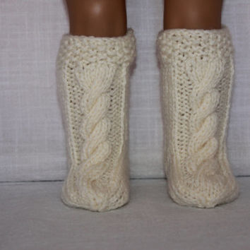 hand knit socks, ivory knee high cable socks, doll socks, 18 inch doll clothes