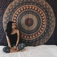 Twin Indian Mandala Tapestry Boho Bedspread Elephant Wall Hanging Bohemian Decor