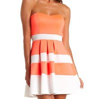 Neon Striped Strapless Skater Dress by Charlotte Russe - Coral
