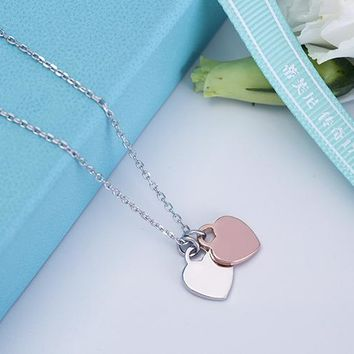 Tiffany & Co. Princess Crown Pendant Peach heart love necklace