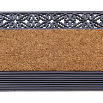 Heavy Duty Rubber and Coir Floral/Stripe Border Doormat, 24X39, Brown