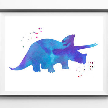 Triceratops Watercolor Print, Dinosaur Wall Decor, Dinos Watercolor illustration Poster, Triceratops Art Print, Wall hanging Dinosaurs Art