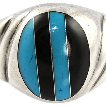 Silver & Inlay Turquoise Signet Ring