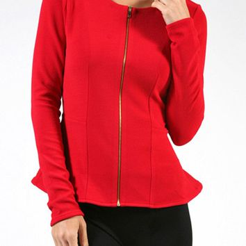 Casual Round Neck Long Sleeve Solid Front Zipper Peplum Skater Top Slim Jacket