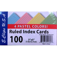 "Index Cards - Pastel Colors - 3""x5"" - 100 ct"
